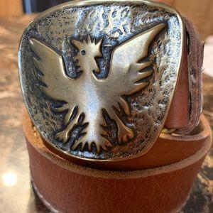 Lucky Brand Leather Belt W/ Eagle Goldtone Buckle
